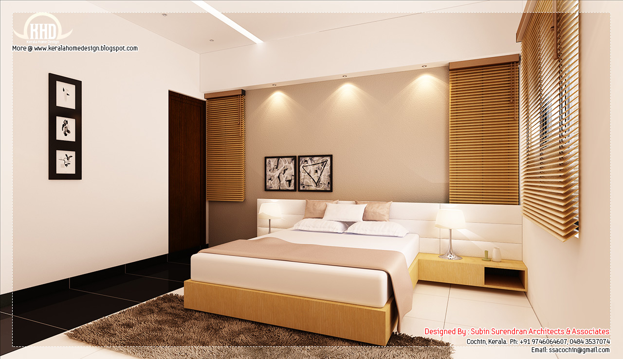 Kerala home beautiful home interior designs for Beautiful bedroom interior