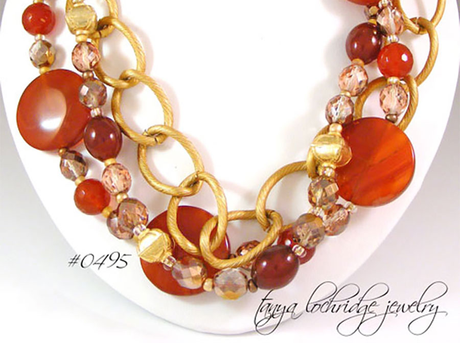 Tanya Lochridge Jewelry Carnelian Gemstone & Gold Vermeil Necklace