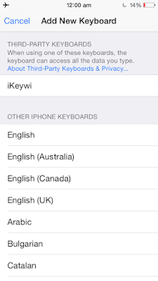 Add New Keybaord iPhone