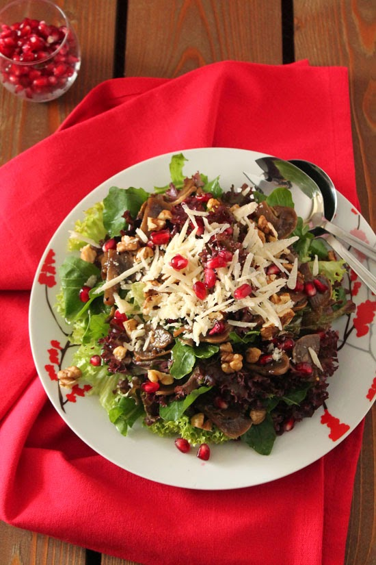 Mushroom, walnut and pomegranate salad