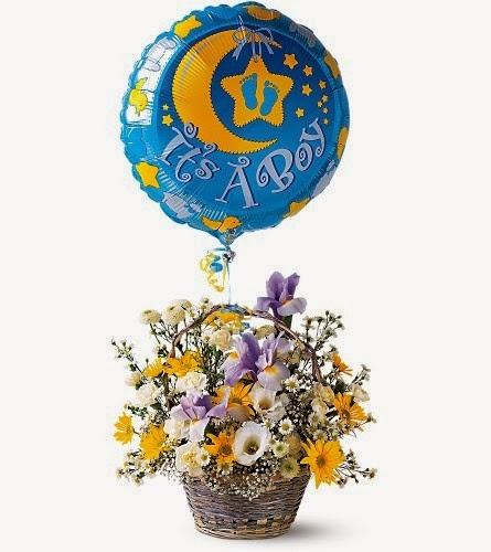 It's A Boy Flower Arrangement With Balloon