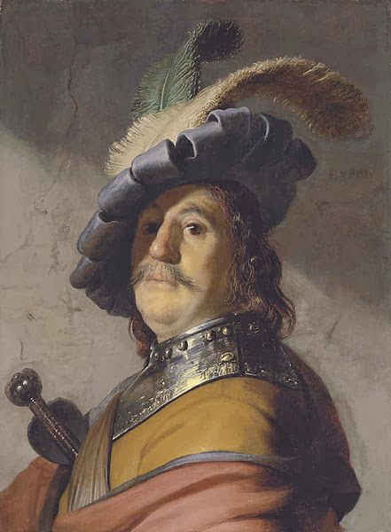 """Picture of """"Bust of a Man in an Gorget and a Feathered Beret"""" by Rembrandt, 1626-1627"""