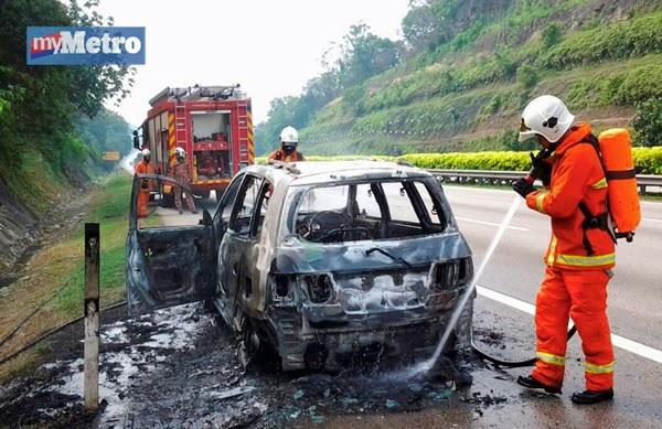 Kereta tiba tiba terbakar di lebuh raya utara selatan pemandu dilapor selamat