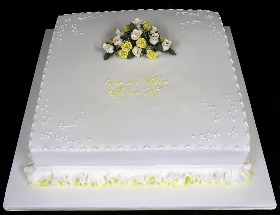 Single Square Wedding Cake Designs Cakes