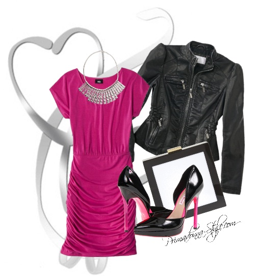 How to wear what to wear with a pink dress black moto jacket black and fuschia heels