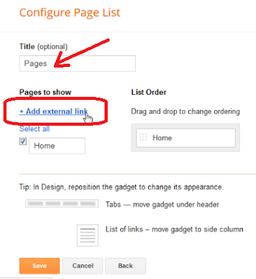 Page gadget, Add external link