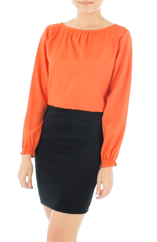 Wonder Ruche Two-Way Long Sleeve Blouse - Pumpkin