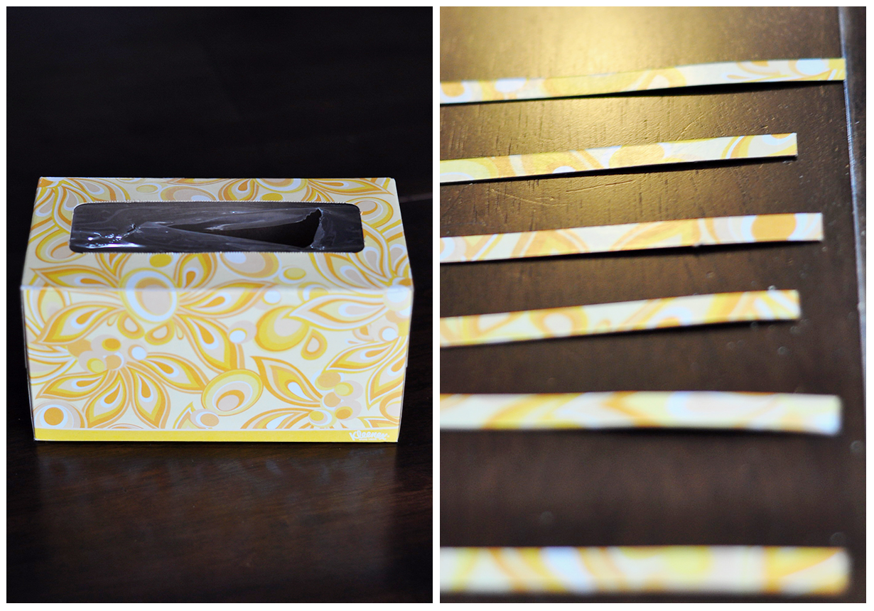 the cheese thief book page and cardboard kleenex box ornament