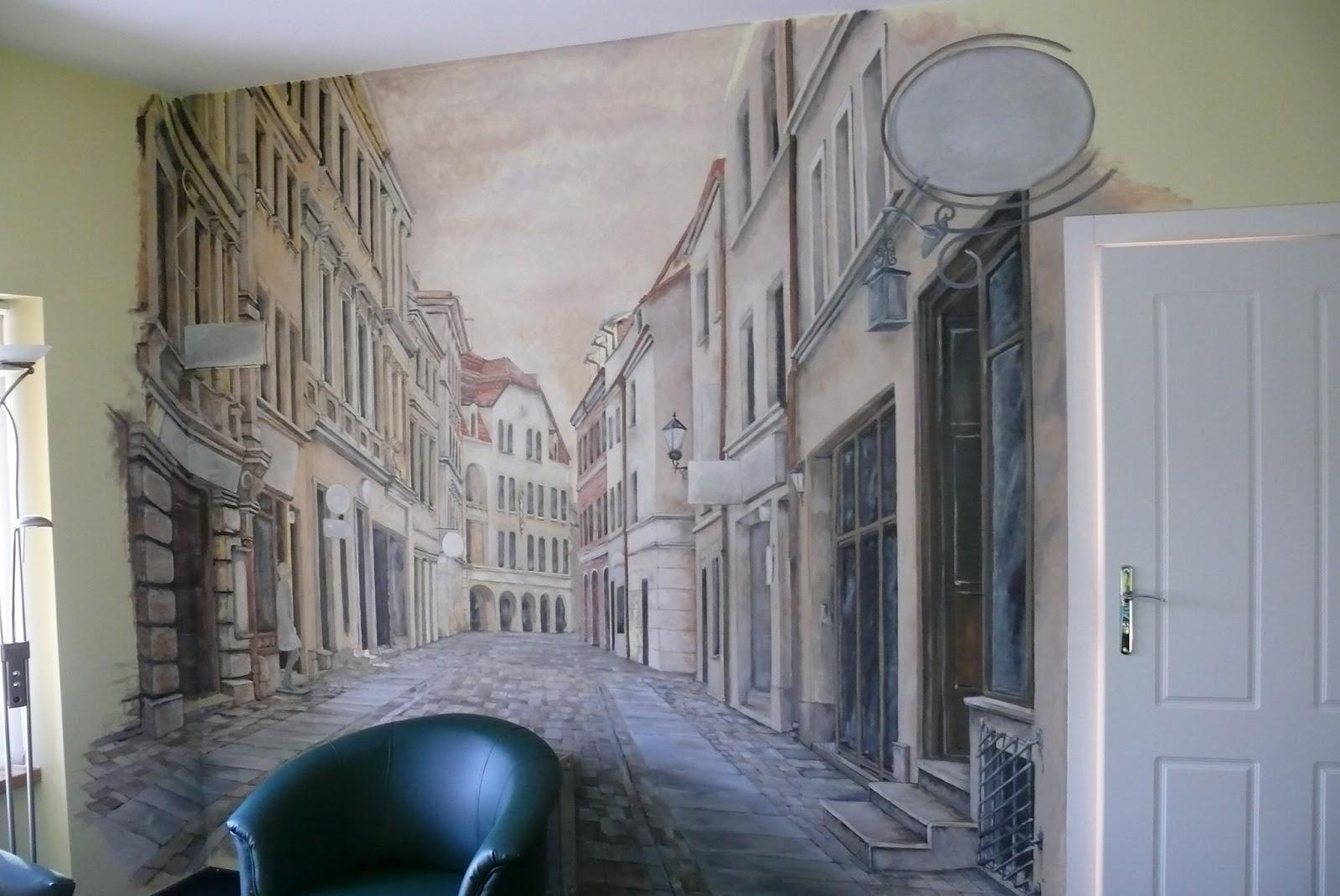 Artystyczne malowanie ściany w gabinecie, malowanie obrazu na ścianie