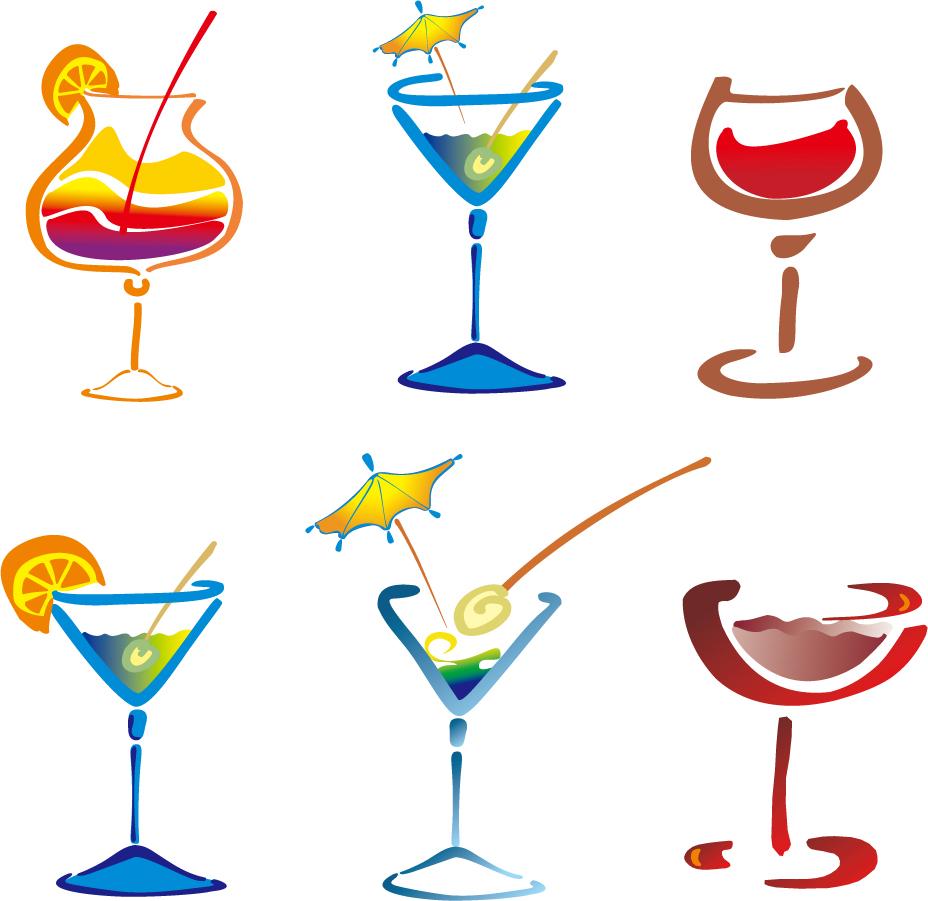 お洒落なカクテル グラスのクリップアート glasses drinks cocktails イラスト素材1