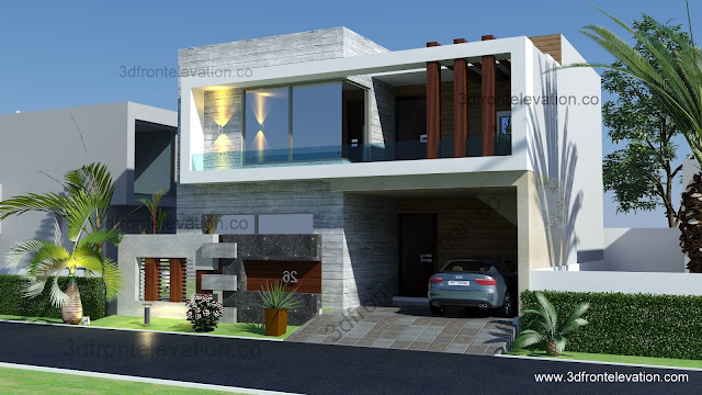 3d Front Elevation Lahore : D front elevation marla house plan