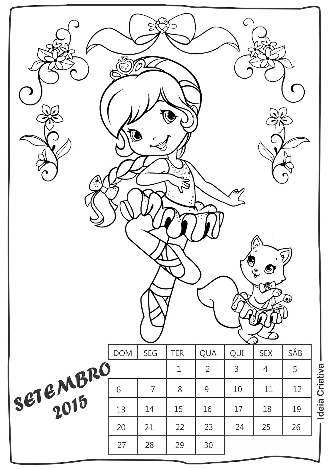 Calendário Setembro Moranguinho para imprimir e colorir