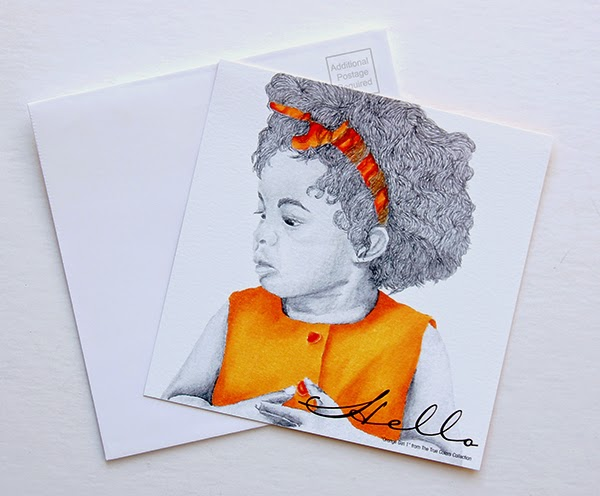 Orange Girl Hello Postcard Personalized Invitation Card front image with matching white envelope