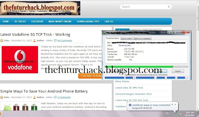 Screenshot: Vodafone 3G TCP VPN Trick - 100% Working