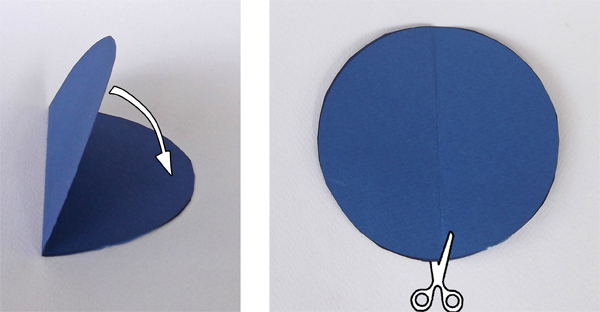 cut a circle in half, make semi circles, how to cut a circle in half. how to make semi circle