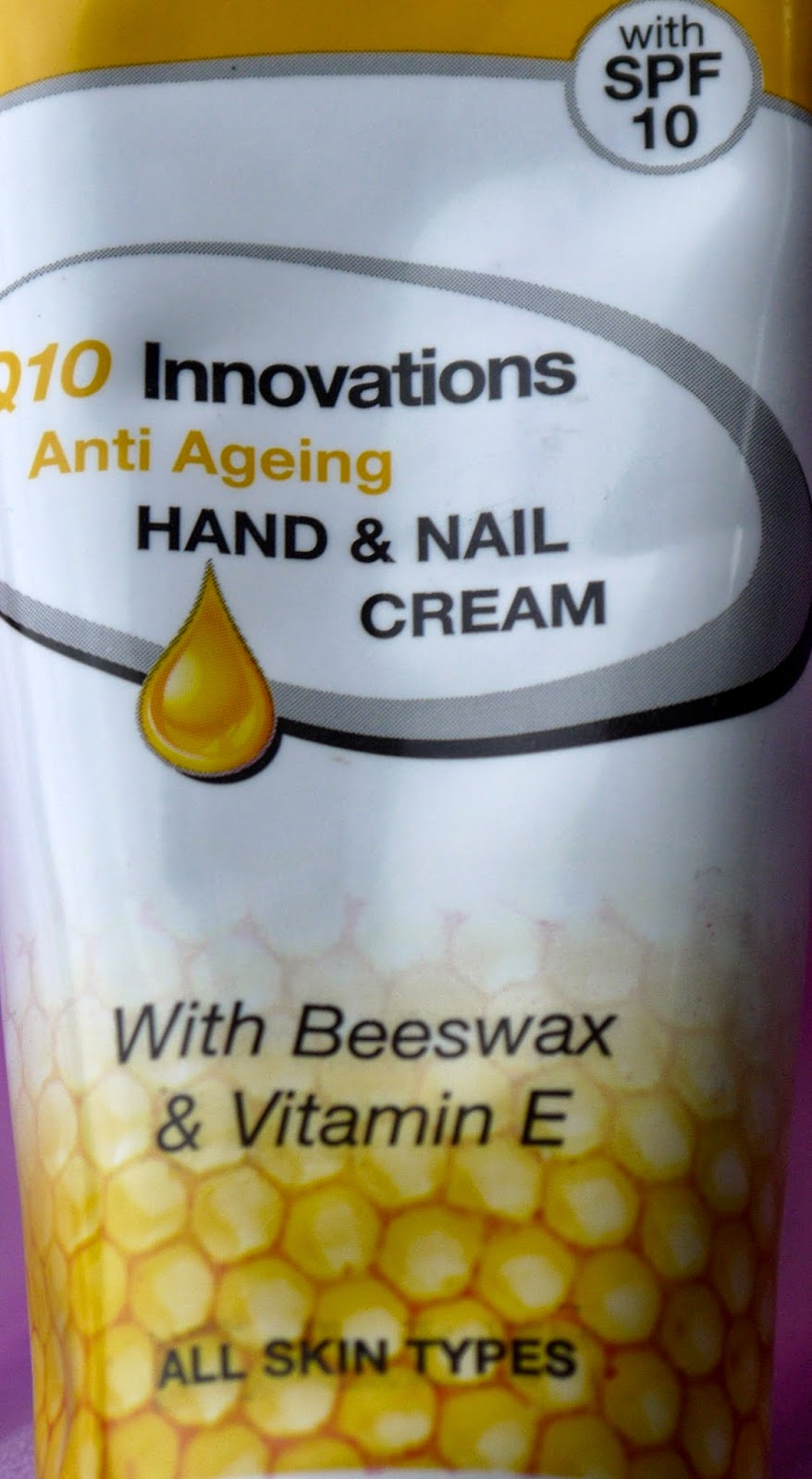 DermaV10 Hand and Nail Cream contains Beeswax, Vitamin E and SPF10
