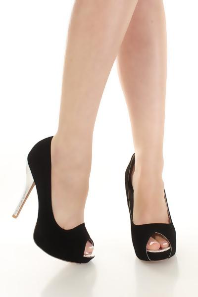 Black Velvet Peep Toe Metallic Snake Skin Heels