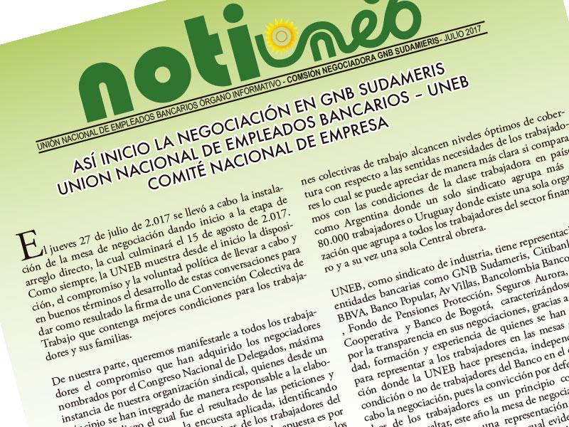 Así inicio la negociación en GNB Sudameris Unión Nacional de Empleados Bancarios – UNEB Comité Nacional de Empresa