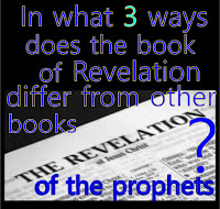graphic (c) Erika Grey titled in what three ways for the book of Revelation differ from the other books of the prophets, which is captioned over and open Bible showing the first page in the book of Revelation