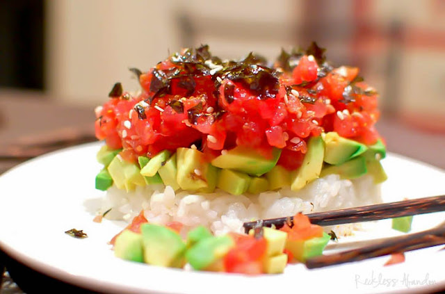 Reckless abandon fresh tuna tower for Fresh tuna fish recipes