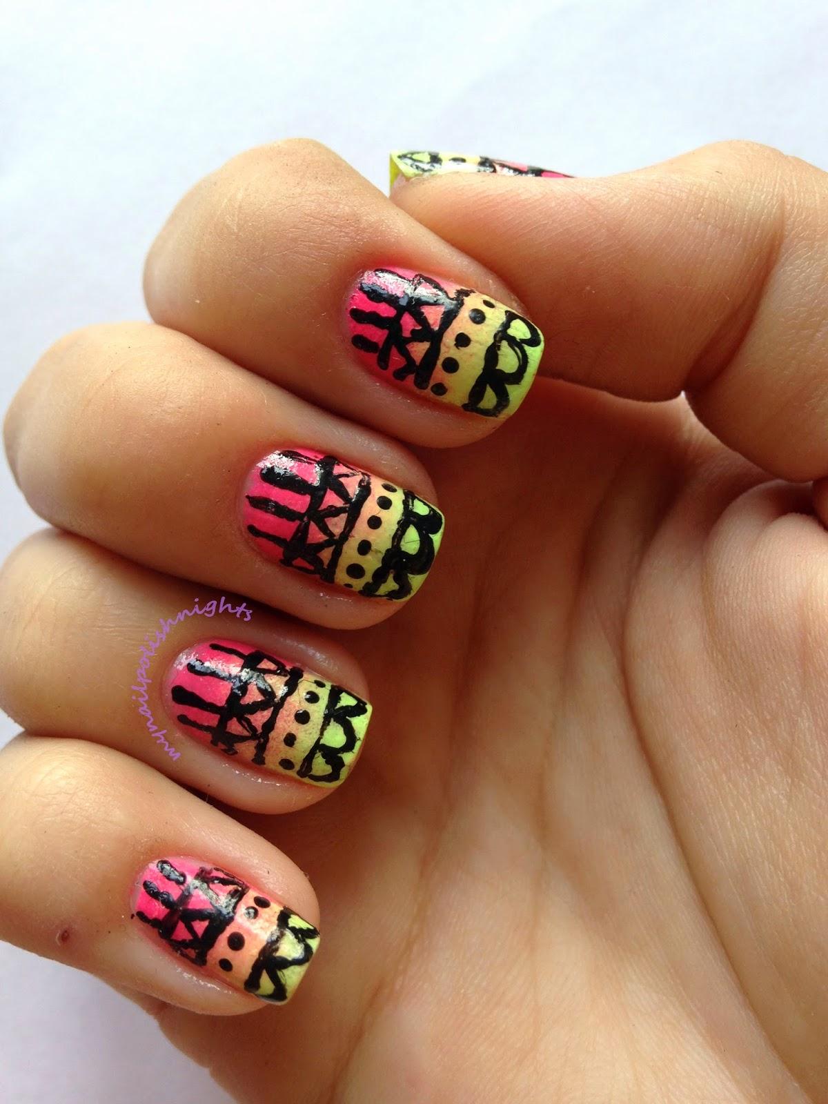Aztec print nails