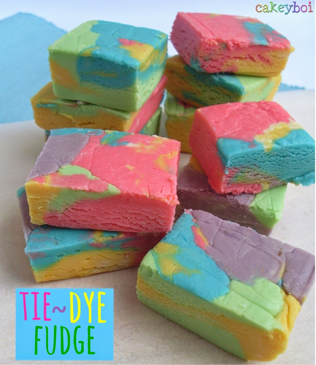 white chocolate flavoured multi-coloured fudge recipe