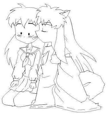 digital dunes inuyasha and kagome coloring pages cartoon characters - Inuyasha Coloring Pages