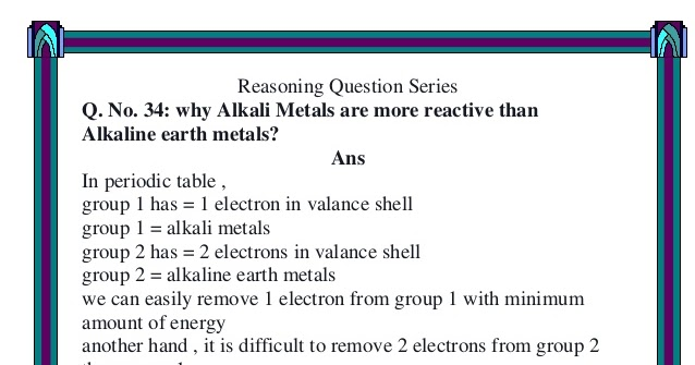 Malik xufyan only chemistry discussion q no 34 why alkali malik xufyan only chemistry discussion q no 34 why alkali metals are more reactive than alkaline earth metals urtaz Images
