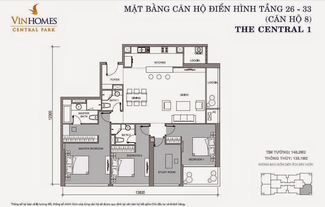 Mặt bằng căn hộ Vinhomes Central Park số 8 tầng 26 - 33