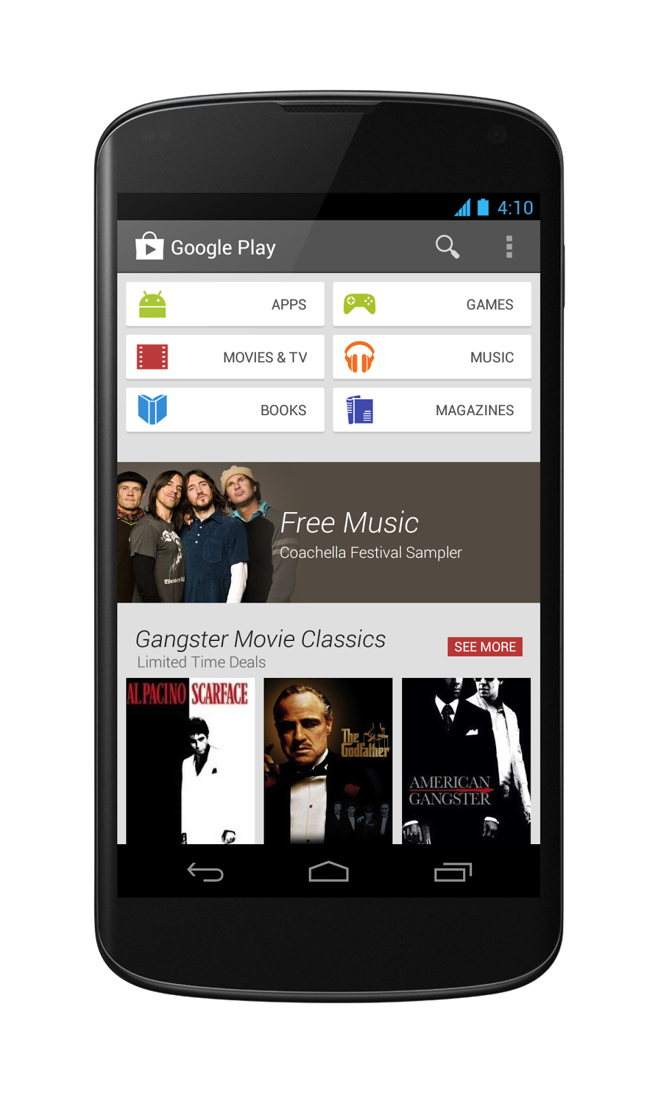 The new Google Play Store on a Nexus 4