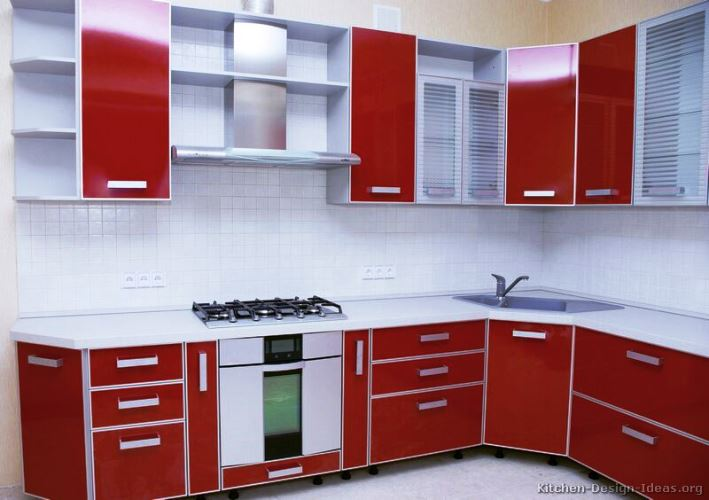 White and red kitchen cabinets furniture modern design ideas with wood background wall and best - Red and white kitchen cabinets ...