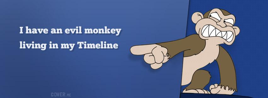Evil monkey in Facebook timeline cover photo