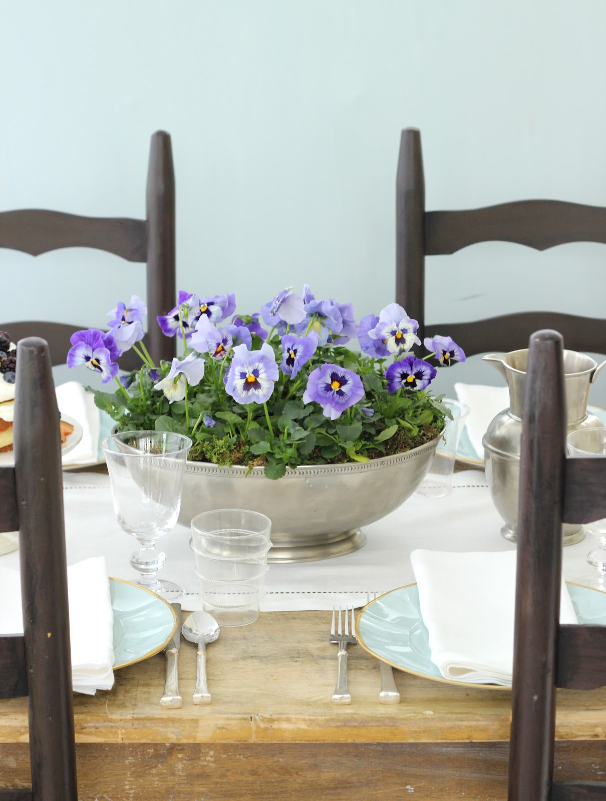 Jenny steffens hobick planted pansies centerpiece