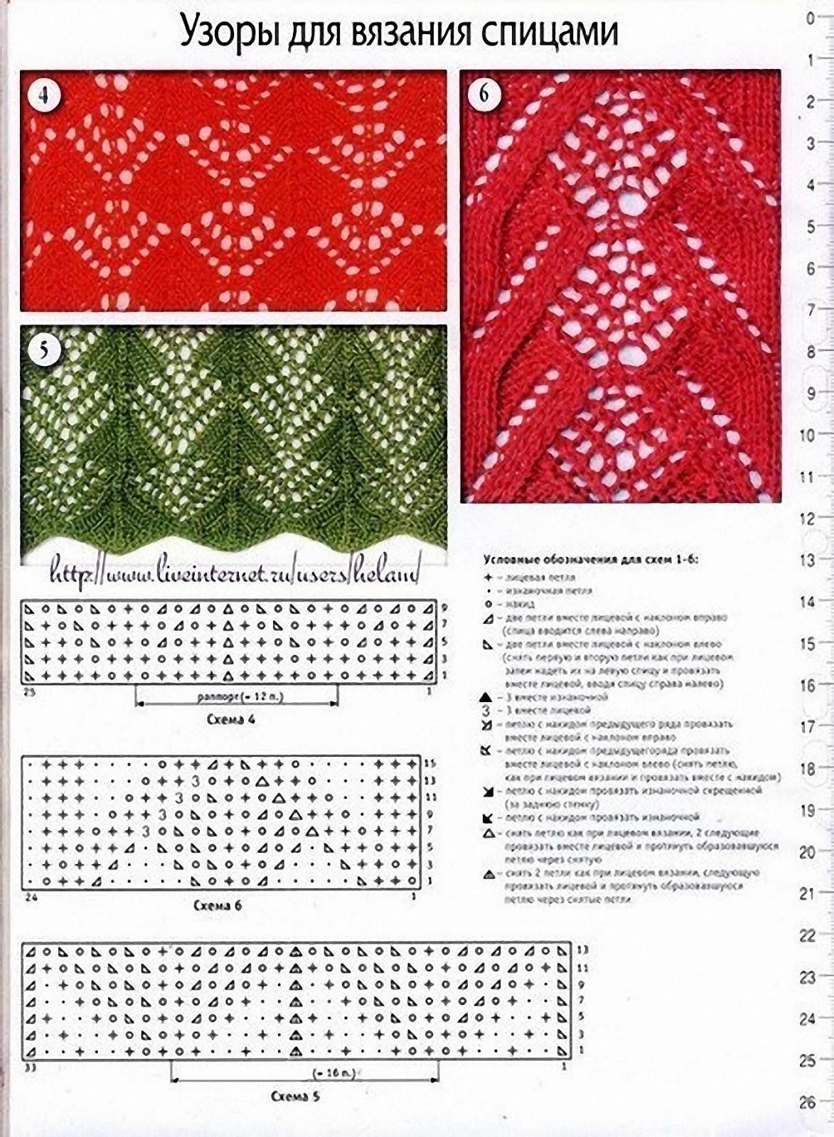 Ажурные узоры вязание спицами схемы и описание 32