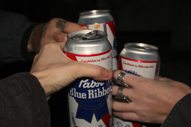 hipster christmas toast with pabst blue ribbon beer