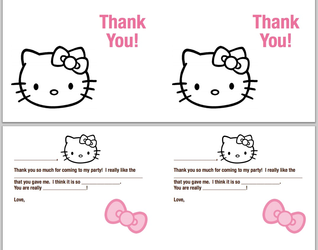 Hello Kitty Thank You Coloring Pages : Free coloring pages of thank you note cards