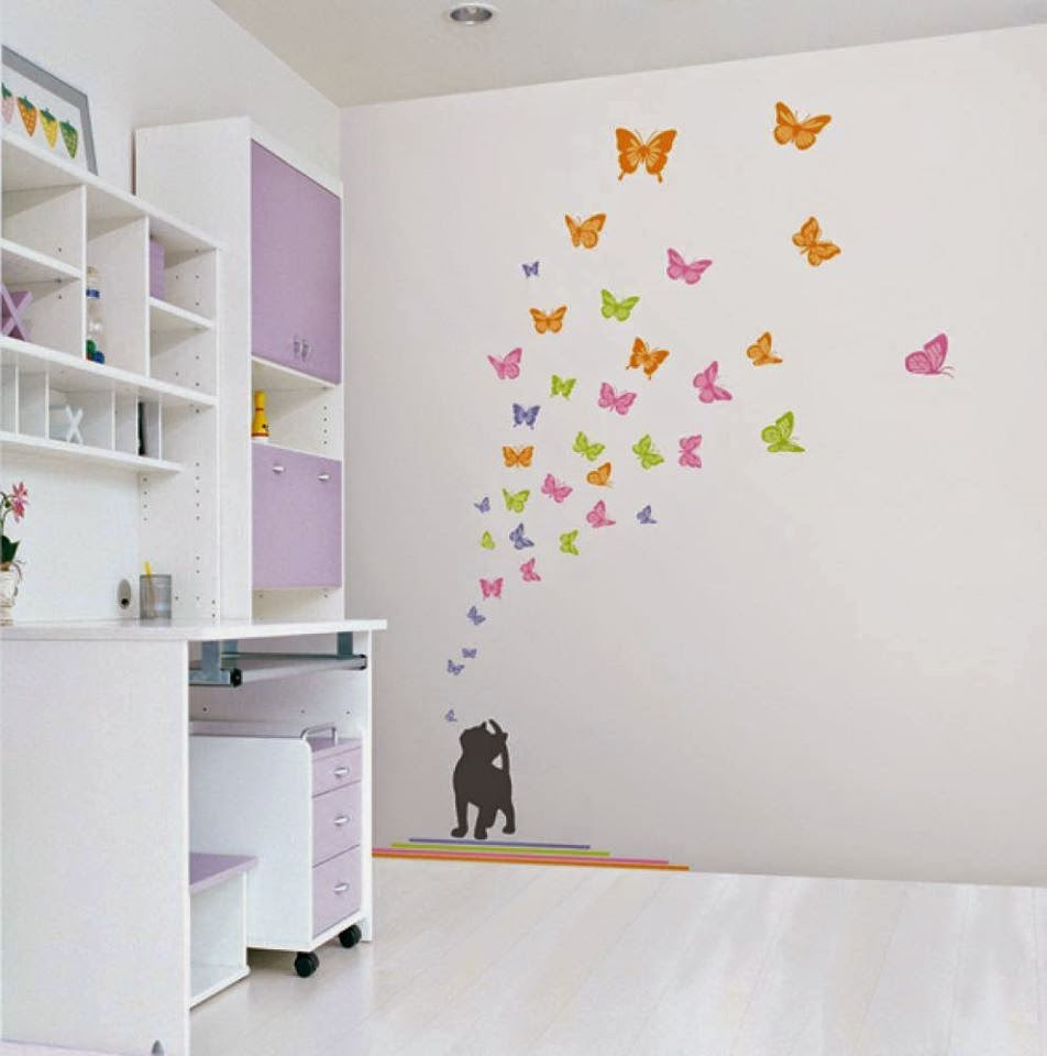 Awesome butterfly wall decoration butterfly themes for for Wall decoration ideas with photos