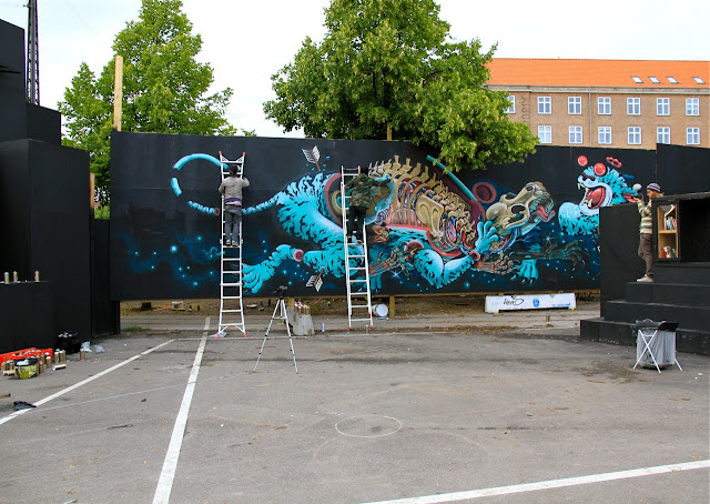 nychos x dxtr new mural in copenhagen denmark streetartnews streetartnews. Black Bedroom Furniture Sets. Home Design Ideas
