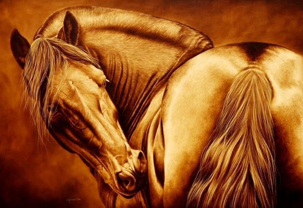Pinturas cuadros lienzos galer a pinturas caballos - Pinturas de madera ...