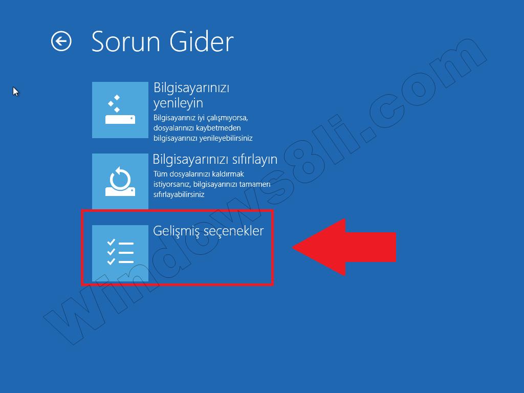 Windows 8 Gelişmiş seçenekler Güvenli Mod
