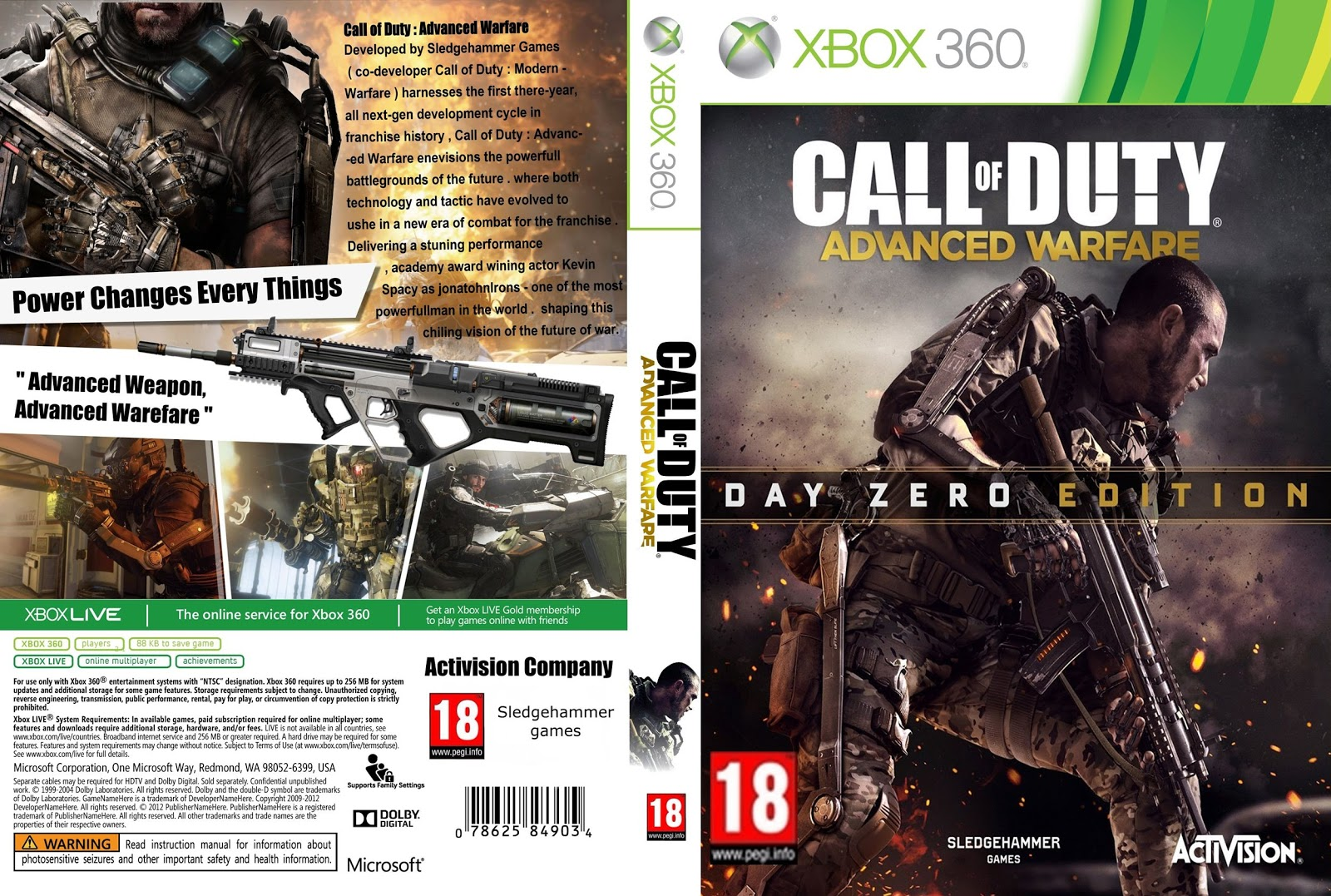 Capa Call Of Duty Advanced Warfare Day Zero Edition Xbox 360