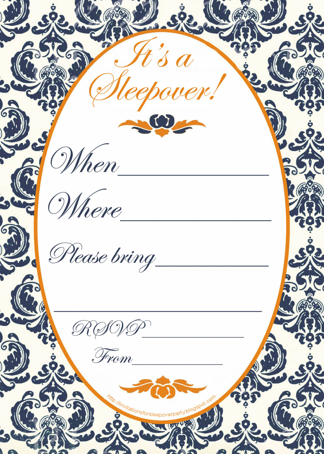 This is an image of Handy Printable Sleepover Invitations