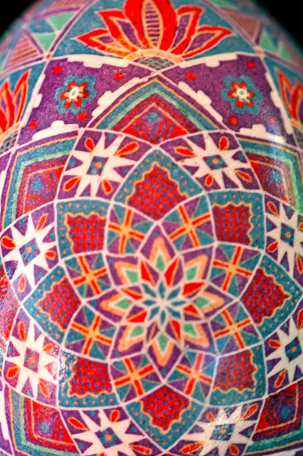 Eight sided star motif Pysanky egg
