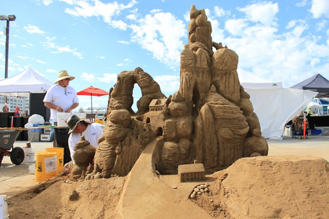 The sculpture looks like mountain and valley in the desert at the U.S Sand Sculpting Challenge 2012 in San Diego, California, USA