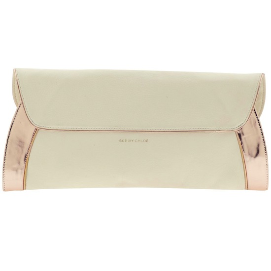 See By Chloe Anna Clutch Cream Gold Handbag