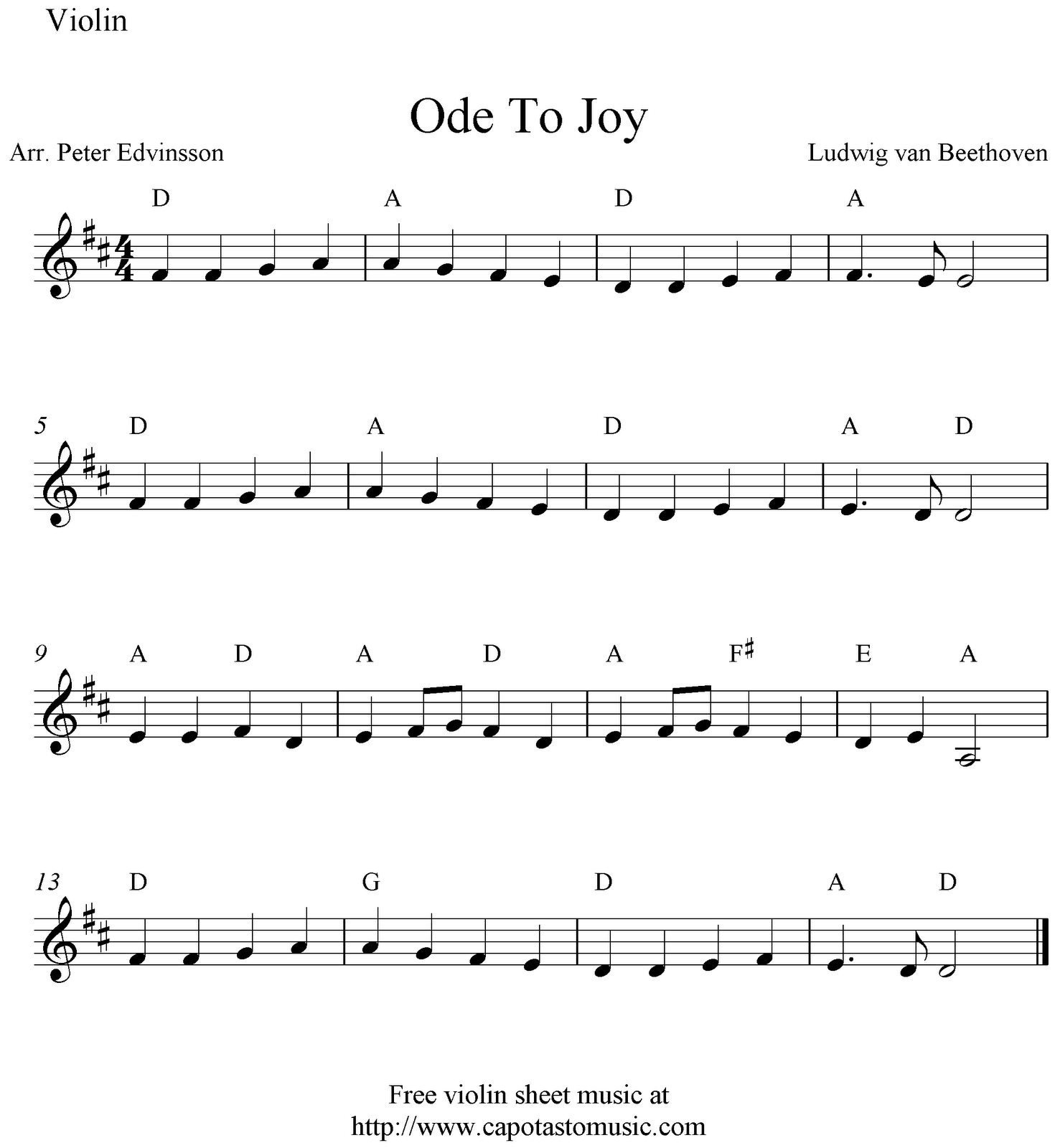 Ode To Joy, Free Easy Violin Sheet Music Notes