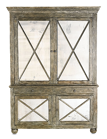 larger gray brown distressed cabinet with mirrored doors