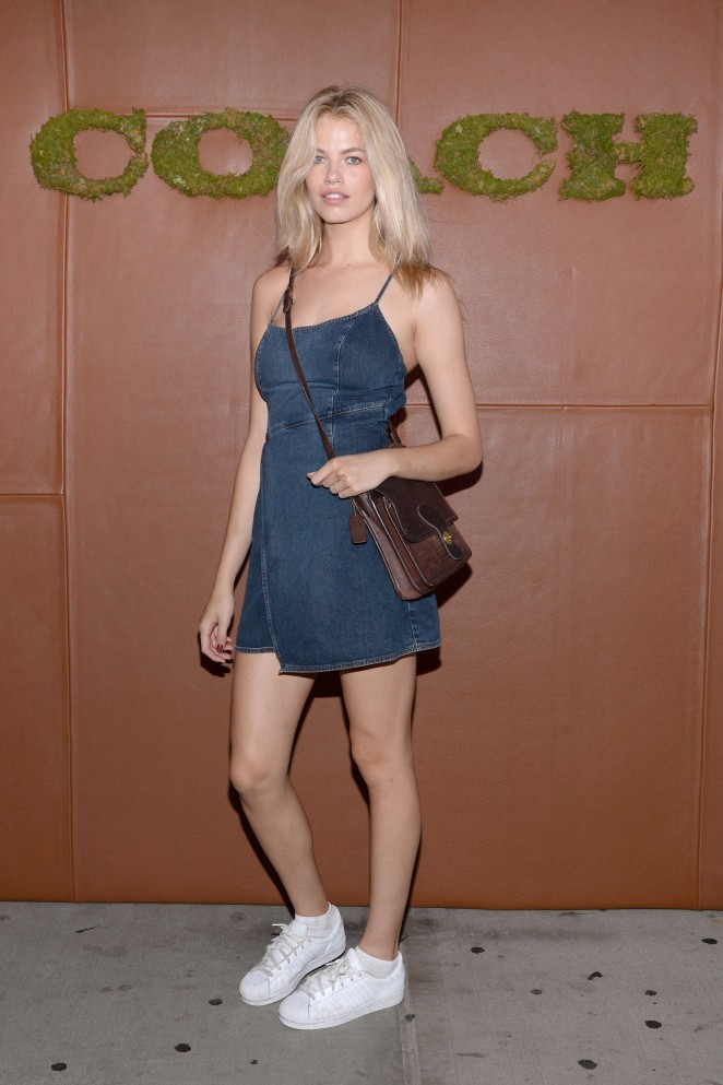 Hailey Clauson in a denim dress at the 2015 Coach and Friends of the High Line Summer Party