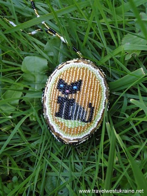 Kitty Cat Beaded Easter Egg from Ukraine