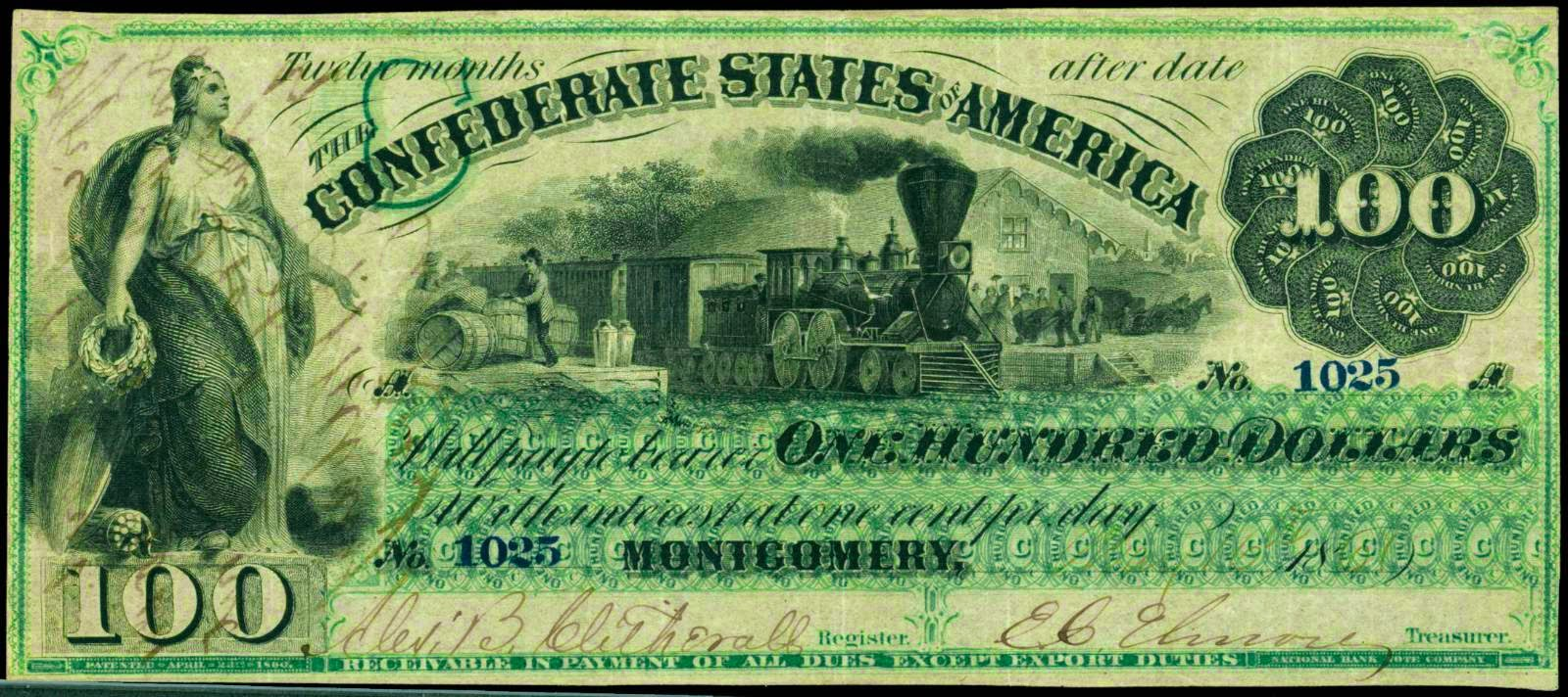 Confederate Currency 100 Dollars Montgomery Note